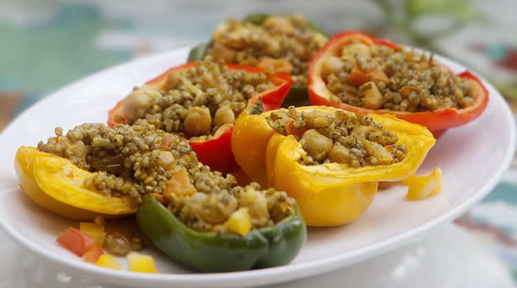 Millet & chickpea stuffed peppers