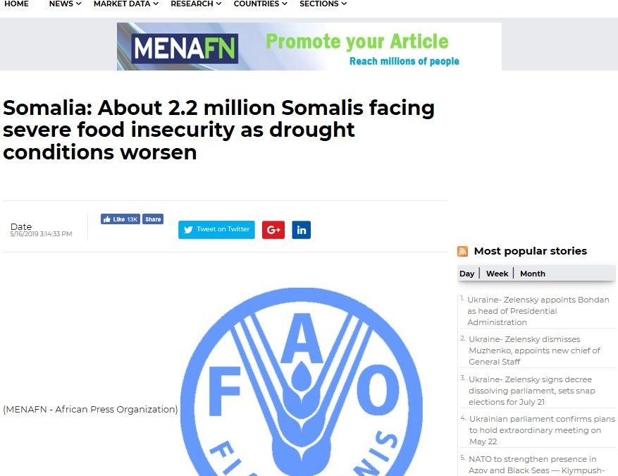 Somalia: About 2.2 million Somalis facing severe food insecurity as drought conditions worsen