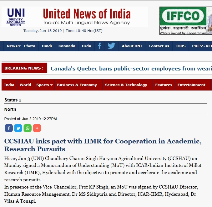 CCSHAU inks pact with IIMR for cooperation in Academic Research Pursuits