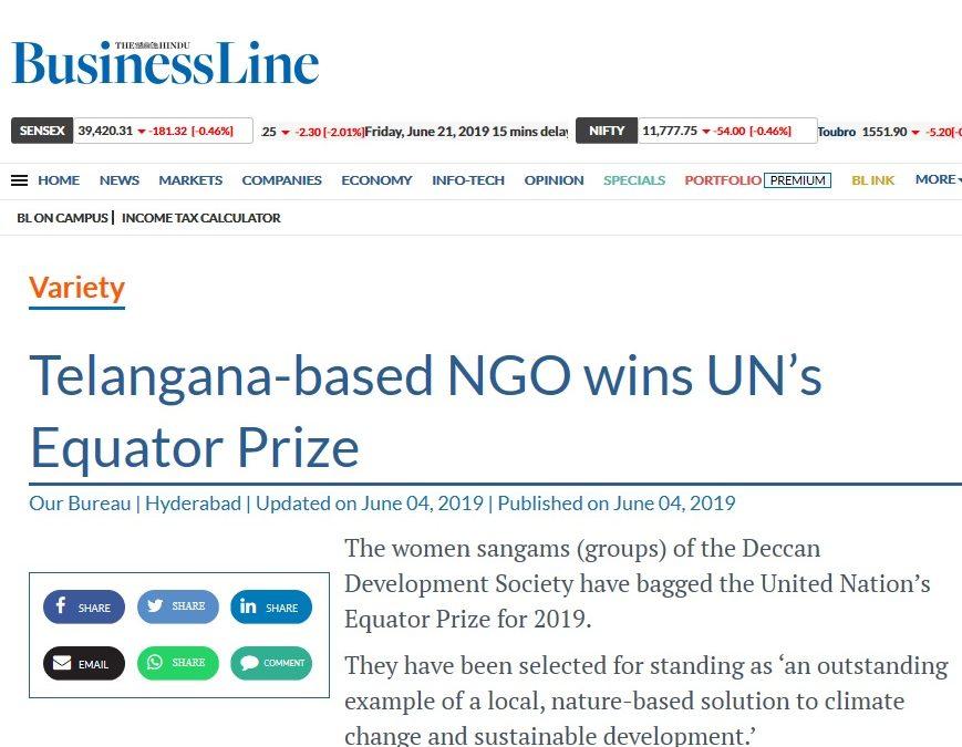Telangana-based NGO wins UN's Equator Prize