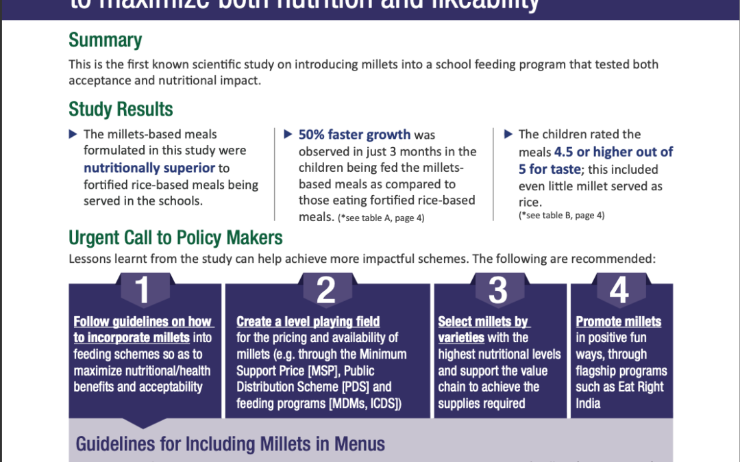 How to include millets in menus to maximize both nutrition and likeability