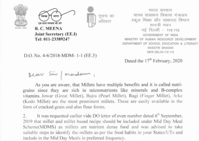 Govt. of India, Ministry of HRD, Department of School Education & Literacy shares a write up on the benefits of millets in safety net schemes and how to include in mid-day meal schemes