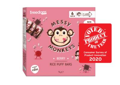 Messy Monkeys Rice Puff Bar Berry by Freedom Foods Pty Ltd