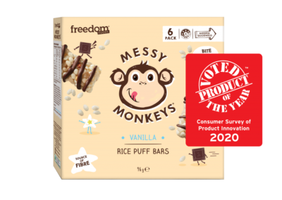 Messy Monkeys Rice Puff Bar Vanilla by Freedom Foods Pty Ltd