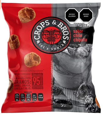 Baked Snack Made of Rice, Quinoa, Lentil and Millet, Chile Chipotle by Crops & Bros