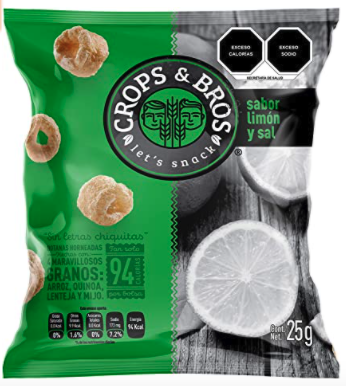 Baked Snack Made of Rice, Quinoa, Lentil and Millet, Lemon and Salt Flavor by Crops & Bros