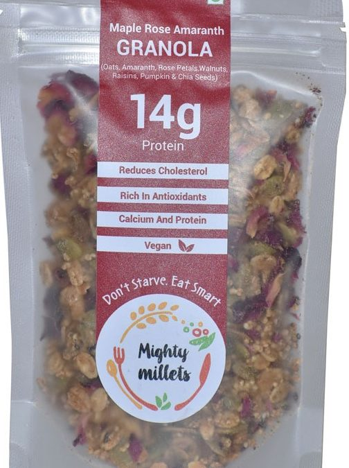 Rose Amaranth Granola by Mighty Millets